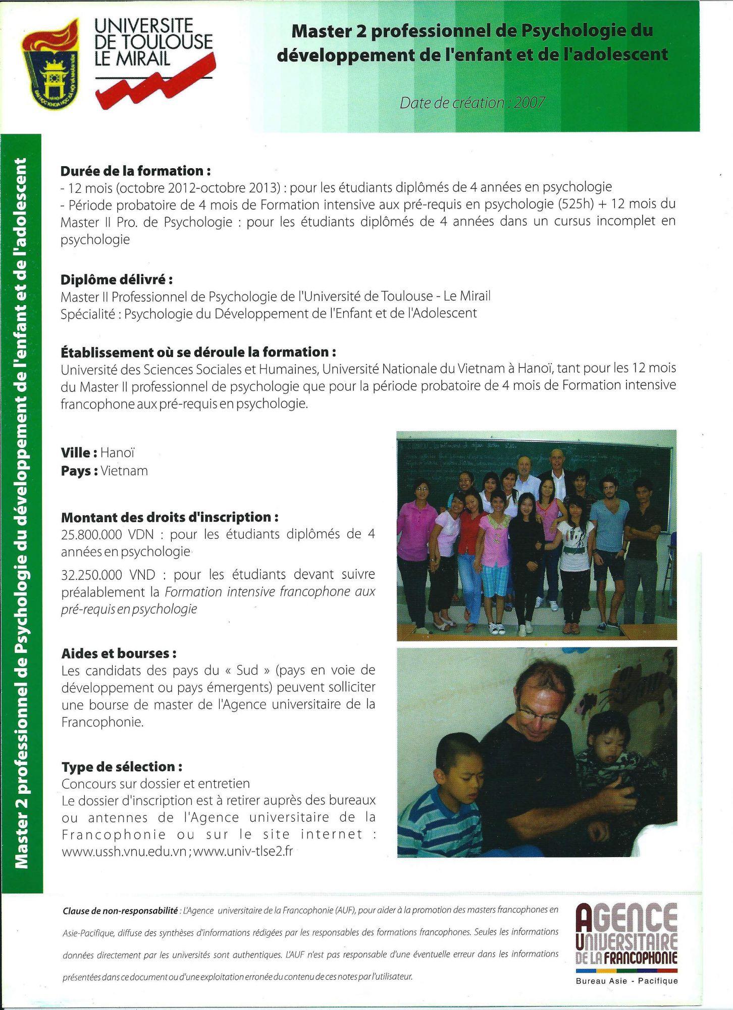 Master 2 professionnel de Psychologie du Développement de l'Enfant et de l'Adolescent